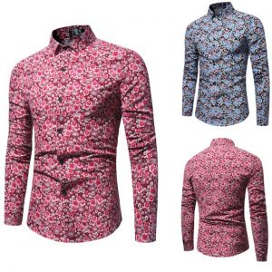 Summer Fashion Men's Flashy Color Sakura Floral Pattern Printed Slim Fit Long-sleeved Buttons Shirt