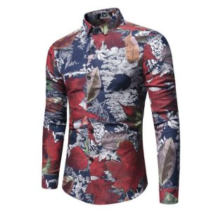Simple Colorful Falls Leave Pattern Printed Slim Fit Long-sleeved Buttons Shirt