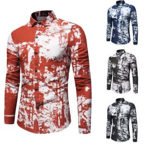Hipster Men's Fashion Shaded Paints Pattern Printed Long-sleeved Buttons Shirt