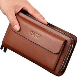 Classic Elegant Men's Fashion Double Layers Designs Thick Long Wallet