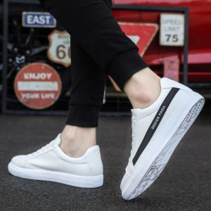 Simple Leisure Men's Fashion Classic White Color Thick Bottom Sneaker Shoes