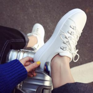 Comfy Breathable Classic White Color Bling Bling Beaded Pattern Thick Bottom Ladies Sport Sneaker Shoes