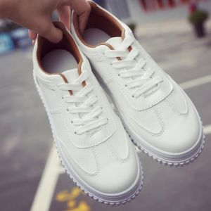 Korean Casual Ladies Fashion Classic Full White Color Thick Muffin Crust Pattern Designs Sneaker Shoes