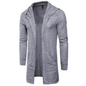 Men's Plains Color Stripes Pattern Designs Hooded Long-sleeve Thin Cardigan Jacket