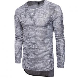 Retro Men's Fashion Maps Pattern Printed Round-neck Designs Long-sleeved Long Shirts