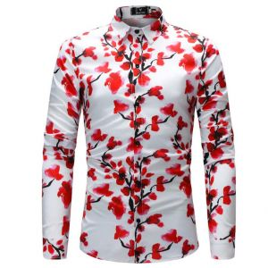 Classic Red Plum Flowers Pattern Printed Smart Casual Men's Long-sleeved Shirts