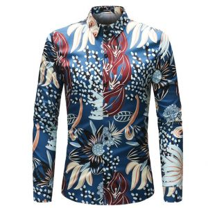 Artistic Grass Flowers Pattern Printed Slim Fit Men's Long-sleeved Shirts