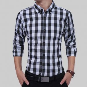 Color Merged Grids Pattern Designs In-styles Men's Long-sleeved Buttons Shirt