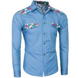 Little Colorful Flowers Pattern Printed Denim Fashion Men's Long-sleeved Shirts
