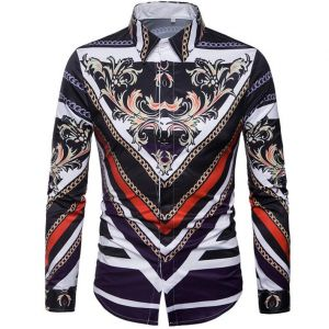 3D Artistic Royal Palace Pattern Printed Luxury Men's Fashion Slim Fit Long-sleeved Shirts
