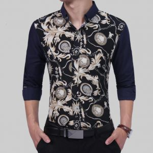 British Fashion Flowers Ball Pattern Printed Slim Fit Long-sleeved Men's Shirts