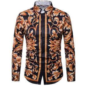 Classic Stylish 3D Floral Pattern Printed Slim Fit Long-sleeved Buttons Shirt