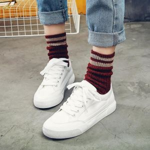 Simple Leisure Young Girls Fashion Plains Color Canvas Sneaker Shoes