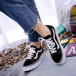 Korean Ulzzang Ladies Fashion Color Strap Pattern Printed Classic White Color Canvas Sneaker