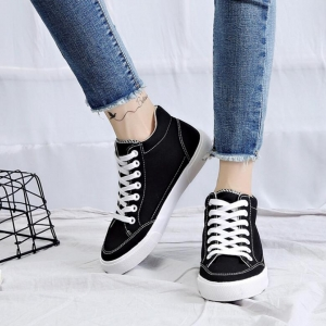 Stylish Classy Ladies Plains Color High Top Ankle Canvas Sneaker Shoes