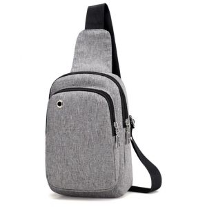 Simple Easy Men's Outdoor Uses Headset Holes Pattern Design Small Zip Crossbody Chest Bag