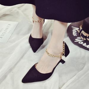 Bohemian Fashion Chains Pearls Pendants Detail Pointed Velvet Ladies Kitten Heel Shoes