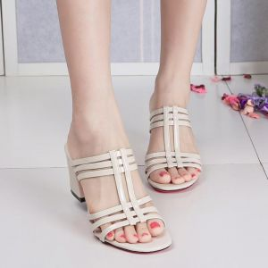 Bohemian Ladies Fashion Hollow Criss Cut Strap Designs Open-toes Thick High Heels Sandals