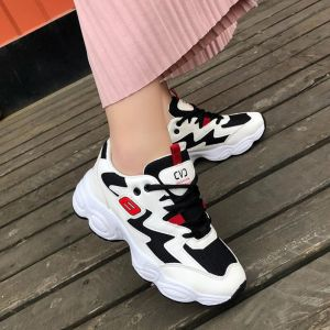 Korean Ulzzang Ladies Fashion Color Merged Pattern Thick Bottom Leisure Young Street Wear Running Shoes