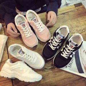 Korean Ladies Fashion Simple Color Merged Pattern Designs Leisure Breathable Running Sneaker Shoes