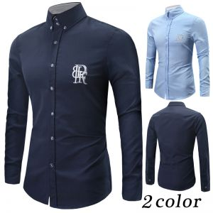 Embroidery Classical Long-sleeved Men's Oxford Shirt