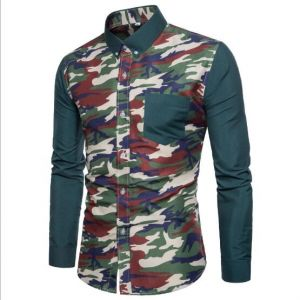 Men's Casual Camouflage Long Sleeve Shirt