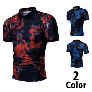 Men's Red Blue Flame Printed Short-Sleeve Lapel POLO Shirt