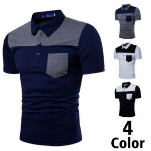 Men's Up Down Mixed Colors Short-Sleeved Lapel POLO Shirt