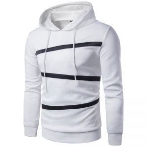 Europe Men's Pure Color Mosaic Casual Hooded Long-Sleeved Sweater