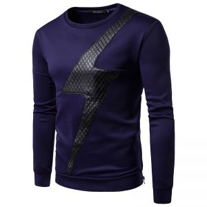 Europe Men's Pure Color Grid Casual Round Neck Long-Sleeved T-shirt