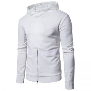 Men's Zippered Hooded Solid-Colored Long-Sleeved Sweater