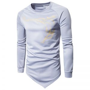 Men's Featured Bronzed Dragonskin Fashion Casual Round Neck Long Sleeve T-Shirt