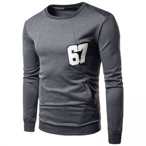 Men's Simple Pure Color Digital Labeling Trendy Fashion Long-sleeved T-shirt