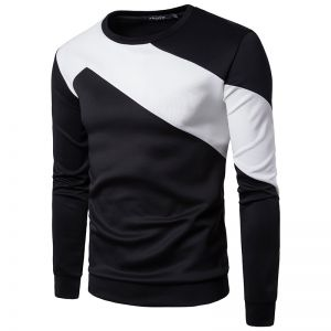 Men's Simple Cuffs Body Color Matching Fashion Casual Round Neck Long Sleeve T-Shirt