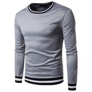 Men's Simplicity Ruffle Colors Solid Color Casual Long-sleeved T-shirt