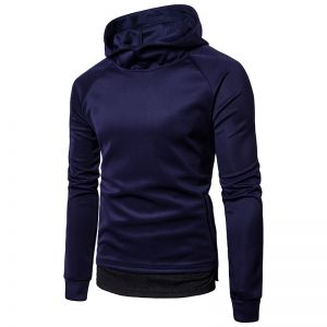 British Men's High Collar Solid Color Upper Body Fashion Hooded Long-Sleeved Sweater