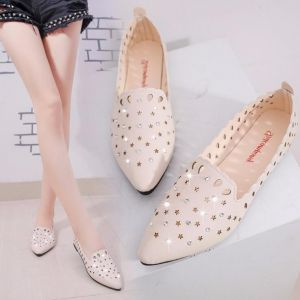 Korean Women's Pointed Shallow Holes Breathable Shoe
