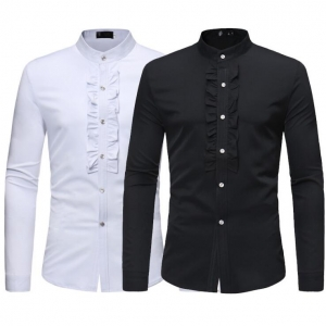 Europe Men's Pure Color Lapel Long-Sleeved Casual Shirt