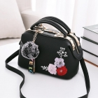 Korean Women's Flower Embroidery Fashion Hairball Ornament Casual Shoulder Bag