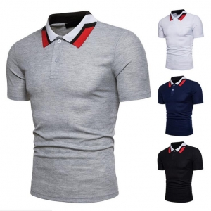 Europe Men's Color Stitching Collar Short Sleeve POLO Shirt
