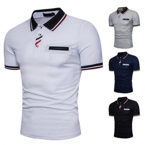Men's Button Color Stitching Short Sleeve POLO T-Shirt