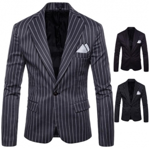 Men's Striped Casual Long Sleeve One Button Suit