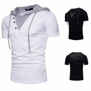 Europe Men's Fake Two-Piece Hooded Short-Sleeved T-Shirt