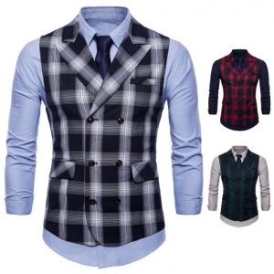 Men's High Quality Casual Checked Vest Waistcoat