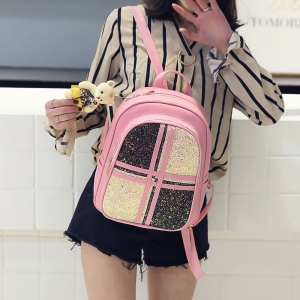 Women's Sequin Color Stitching Bear Pendant Backpack
