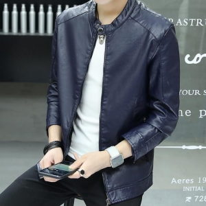 Men's Solid Color Collar Simple Generous PU Leather Jacket