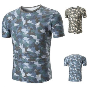 Europe Men's Simple Camouflage Round Neck Small Hole Casual T-Shirt