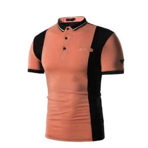 Men's Color Stitching Casual Short-Sleeved POLO T-Shirt