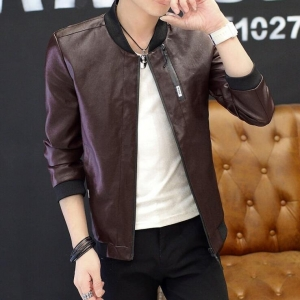 Young Men's Casual Slim PU Leather Jacket