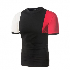 Men's Color Stitching Short Sleeve Casual T-Shirt